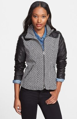 GUESS Faux Leather Sleeve Tweed Scuba Jacket (Online Only)