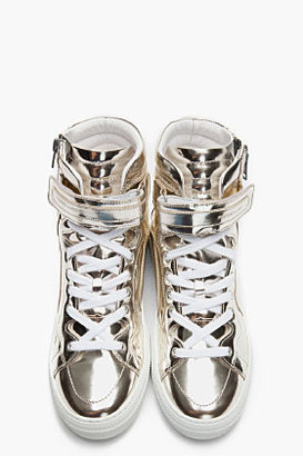 Pierre Hardy Metallic Silver Patent Leather 112 Sneakers