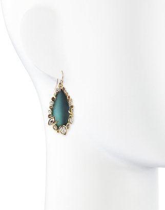 Alexis Bittar Teal Lucite & Crystal Lace Drop Earrings