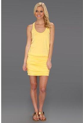 Michael Stars Jersey Knit Shirred Mini Dress (Lemon) - Apparel