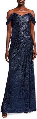 Rene Ruiz Collection Off-the-Shoulder Metallic Side-Drape Gown