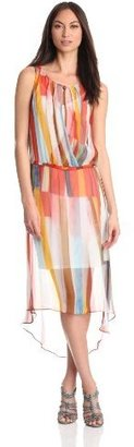 Plenty by Tracy Reese Women's Surf Shack Stripe Hi Low Surplice Dress