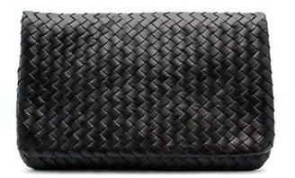 "Christopher Kon PL01176"" Black Leather Flap Over Woven Clutch"