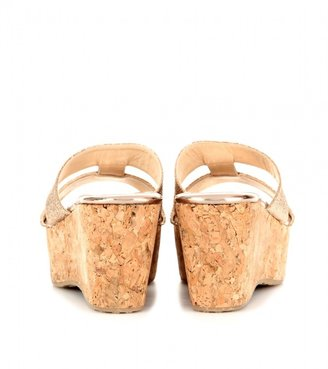 Jimmy Choo Patina glittered leather cork wedge platforms