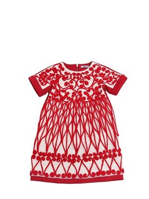 Embroidered Cotton Milano Knit Dress