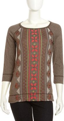 JWLA Tricia Embroidered Raglan-Sleeve Tee, Chocolate
