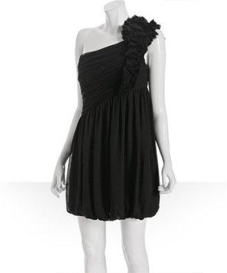 Robert Rodriguez black silk chiffon 'Cate' rosette one shoulder dress