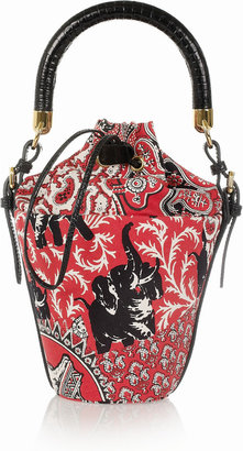 Miu Miu Printed cotton-canvas mini bucket bag
