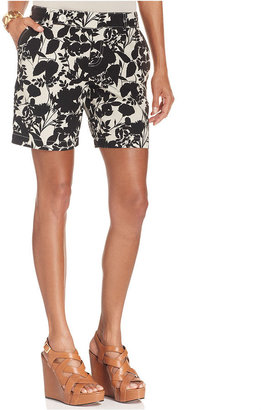 Style&Co. Shorts, Tummy-Control Printed Linen