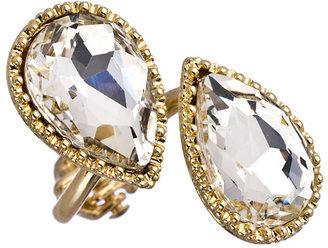 Blu Bijoux Double Crystal Teardrop Ring
