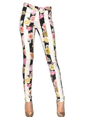 MSGM Flower Stripe Stretch Cotton Drill Jeans