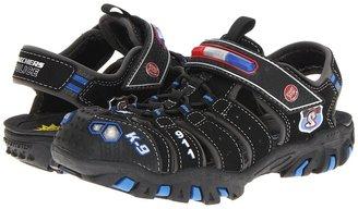 Skechers Ravage - Police II Lights 90507L (Little Kid) (Black Trubuck/Royal Mesh/Silver Trim) - Footwear