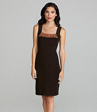 Exclusively Misook Sleeveless Leopard-Print Dress