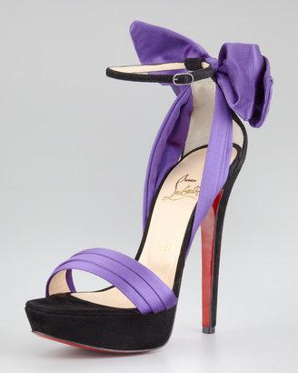 Christian Louboutin Vampanodo Satin Bow Red Sole Sandal