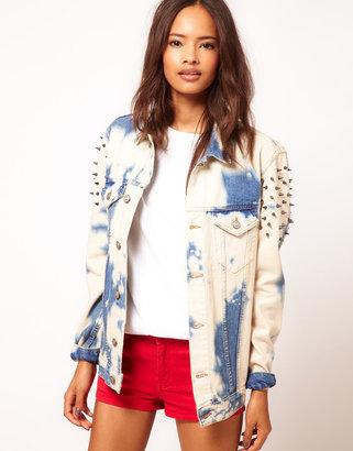 Asos Studded Oversize Denim Jacket in Random Bleach Wash