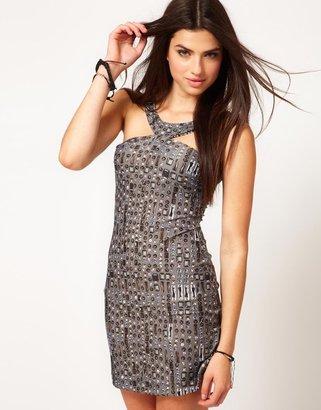 Miss Sixty Jewel Print Mini Dress With Racer Neck