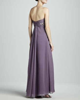Aidan Mattox Beaded-Top Strapless Gown