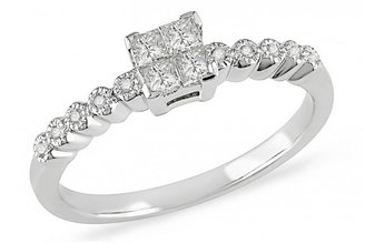 Ice 1/4 Carat Diamond 14K White Gold Bridal Engagement Ring