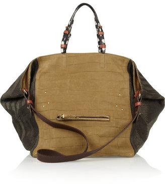 Jerome Dreyfuss Jacques suede, leather and elaphe tote