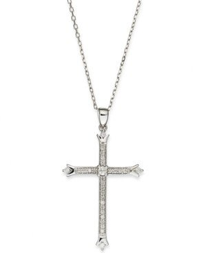 Macy's Diamond Skinny Cross Pendant Necklace in 14k White Gold (1/6 ct. t.w.)