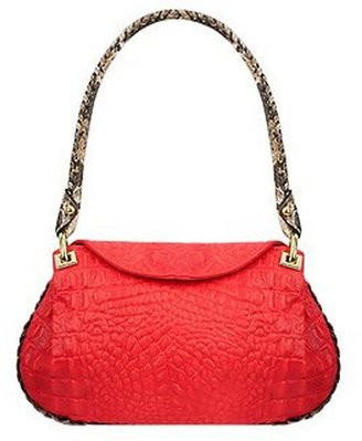 Fontanelli Red Croco-embossed Leather Flap Bag w/Python Trim