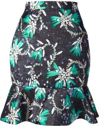 Mary Katrantzou 'Roush' print ruffle skirt