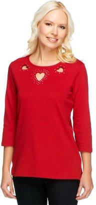 Quacker Factory Sparkle Heart Cut-Out T-shirt