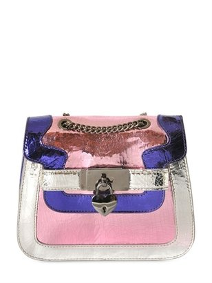 Moschino Cheap & Chic Baby Nensi Crackled Metallic Leather Bag