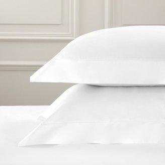 The White Company Pimlico Oxford Pillowcase with Border - Single, White, Large Square