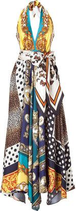 D&G Dolce & Gabbana Multicolor Printed Silk Halter Gown
