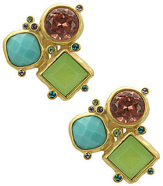 T Tahari Cool Colors Cluster Clip Earrings