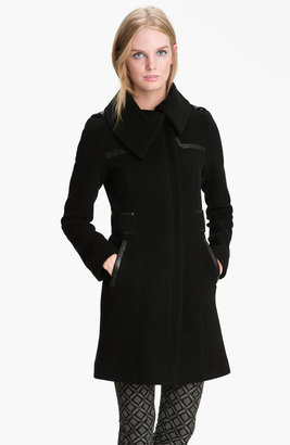 Mackage Leather Trim Wool Blend Coat
