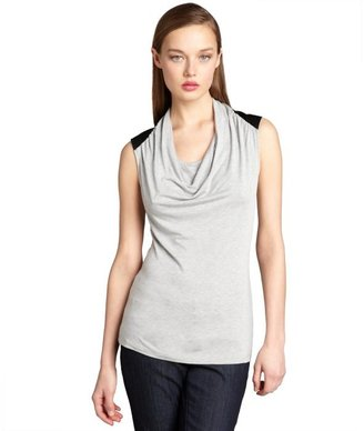 Wyatt heather grey jersey cowl neck faux-leather paneled top