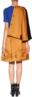 Jonathan Saunders Satin Waisted Skirt with Pleats in Golden Brown Flower