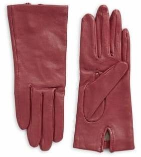 Fownes Brothers & Co. Three-Button Leather Silk-Lined Gloves