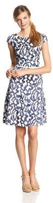 Anne Klein Women's Cap-Sleeve Reflection Jacquard Swing Dress