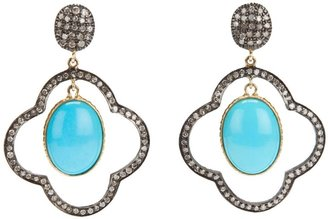 Gems N' Crafts Turquoise Diamond Drop Earrings