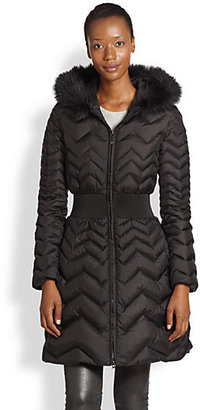 Dawn Levy Raccoon Fur-Trimmed Hooded Chevron Quilted Coat