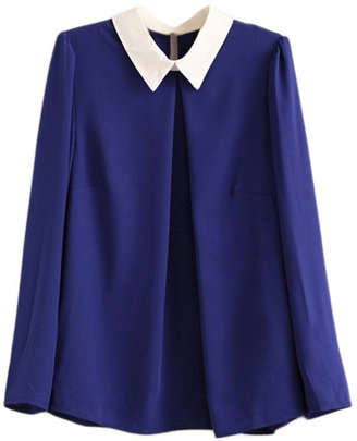 Romwe Dual-tone Pleated Blue Blouse