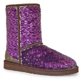 UGG Classic Short Sparkle Suede & Sequin Boots