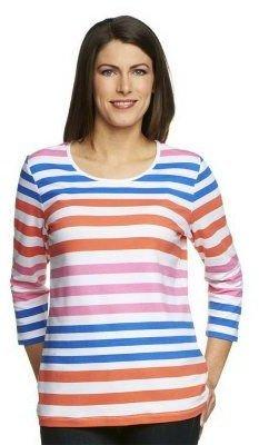 Denim & Co. Perfect Jersey 3/4 Sleeve Color-Block Scoop Neck Top