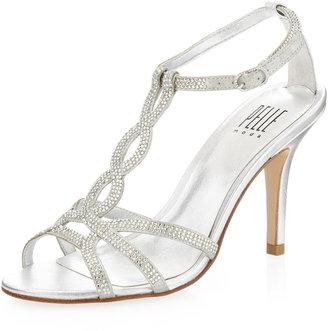 Pelle Moda Mila Rhinestone-Strap Sandal, Silver