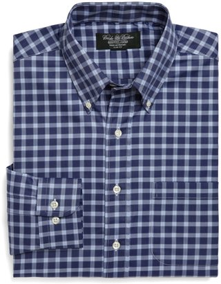 Brooks Brothers Country Club Regular Fit Melange Stripe Windowpane Sport Shirt