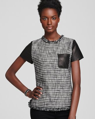 Rebecca Taylor Top - Short Sleeve Tweed with Patch Pocket