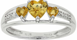 FINE JEWELRY Genuine Citrine & Diamond-Accent Heart-Shaped 3-Stone Sterling Silver Ring