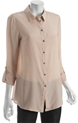 DREW blush silk crepe button front blouse