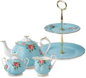 Royal Albert Polka Blue Tea Set & Serveware
