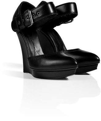 McQ by Alexander McQueen Leather Biker Contour Wedges in Black