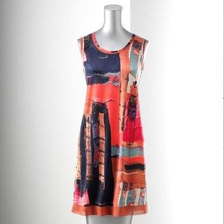Vera Wang Simply vera brushstroke shift dress