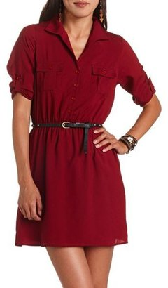 Charlotte Russe Belted Woven Shirt Dress